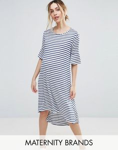 Buy Bluebelle Striped Dip Hem Dress at ASOS. With free delivery and return options (Ts&Cs apply), online shopping has never been so easy. Get the latest trends with ASOS now. Maternity Shoot Dresses, Casual Maternity, Maternity Wear, Maternity Fashion, Maternity Clothing, Casual Day Dresses, Women's Dresses, Asos, Pregnancy Outfits