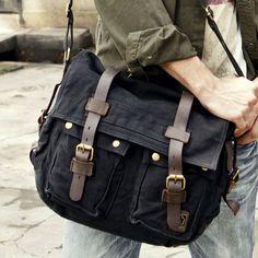 7d44de095 Black Canvas Messenger Bag Vintage Military Style with Leather Accents