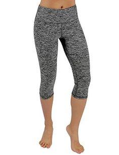 1e8b4c4aa123 ODODOS Power Flex Yoga Capris Pants Tummy Control Workout Running 4 Way  Stretch Yoga Capris Leggingss with Hidden Pocket,CharcoalHearher,Small