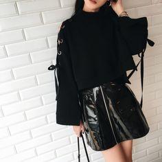 [Darker than Black] Black Leather Zipper Skirt SD01082