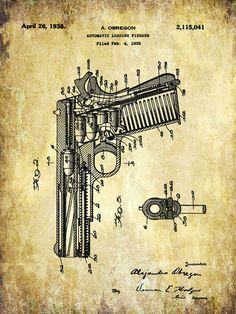 Handgun Patent Print - Patent Poster - Handgun - Gun - Automatic Pistol - Faux Vintage