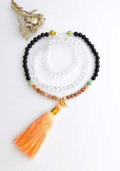Excited to share the latest addition to my #etsy shop: Quartz Mala, Obsidian Mala, Moonstone Mala, Amazonite Mala, Mala Necklace, Prayer Beads, Healing Necklace, Mala Beads, Gift for Her, MNOM http://etsy.me/2AS9bNz #jewelry #necklace #mala #malabeads #obsidian #yoga