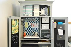 Such an UBER-CUTE armoire to desk transformation - PERFECT for small space decor!