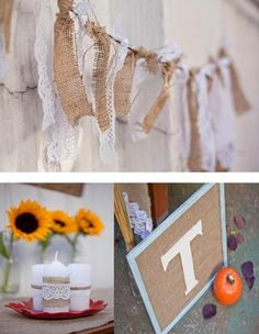 Ideas for incoproating burlap and lace into a upscale southern theme