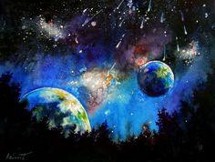 Кассиопея - яркая акварель купить, анна соколова, свет, звезды, небо, созвездия, ночной лес:
