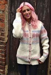 Chunky Knit Wool Cardigan in Cream and Pastel Pink (2)