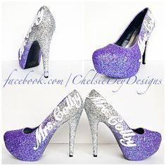 Lilac Glitter High Heels - Purple Lavender Silver Pumps - Wedding Last Name - Sparkly Wedding Shoes - pinned by pin4etsy.com