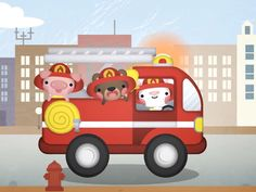 Drive the fire truck - kiboomu animation by Squid&Pig, via Behance Art Transportation, Kids Songs, Cute Illustration, Fire Trucks, Storyboard, Animated Gif, Minions, Animation, Toys