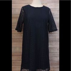 I just added this to my closet on Poshmark: EVERLY Large Navy Blue LACE Shift Dress Knee Lengt. Price: $29 Size: L