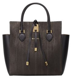 Michael Kors Large Snakeskin Leather Miranda Black Tote Bag.