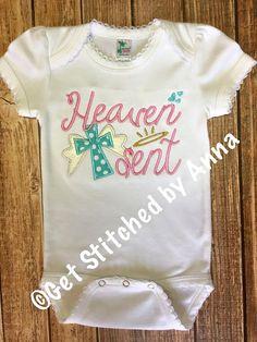 Heaven Sent baby onesie baby bodysuit girls by GetStitchedByAnna