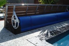 When not in use, your Elite Solar Pool Blanket stores away. It's easy to operate and works perfectly to protect and warm your pool in Perth. Pool House Designs, Backyard Pool Designs, Small Backyard Pools, Swimming Pools Backyard, Pool Paving, Pool Landscaping, Pool Cover Roller, Hidden Pool, Pool Landscape Design