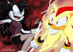 Dark aurora and Super shadow. Funny Drawings, Cool Art Drawings, Cool Artwork, Shadow And Amy, Sonic And Shadow, Super Shadow, Shadow The Hedgehog, Sonic The Hedgehog, Sonamy Comic