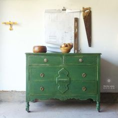Green Antique Dresser / Guest Bedroom / Storage