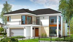 Projekt domu piętrowego Riwiera o pow. 204,31 m2 z piwnicą, z obszernym garażem, z dachem wielospadowym, z tarasem, z wejściem od południa, z antresolą, sprawdź! Modern Architectural Styles, Architectural House Plans, Two Story House Design, Small House Design, Bungalow House Design, Modern Bungalow, One Storey House, Looking For Houses, Modern Minimalist House
