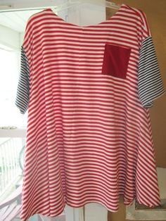 red Striped oversize tunic top lagenlook size XL by LizBlairStudio, $25.00