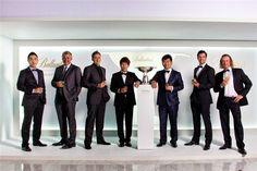 Presentacion del Ballantines championship. de izquierda a derecha: Bae, Clarke, Poulter, Kim, Yang, Scott y Jimenez