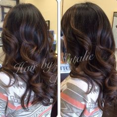 """73 Likes, 13 Comments - Socal MUA/Hair/weddings (@nataliedmakeuphair) on Instagram: """"Before and after caramel #balayagehighlights on my clients natural black hair. #balayage…"""""""