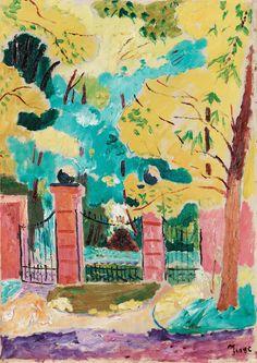 "ISAAC GRÜNEWALD, ""Slottsgrinden, Julebaek, Hellebaek"".  1917. Duk 65 x 46,5 cm."