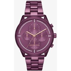 Michael Kors Michael Kors Slater Plum-Tone Watch ($275) ❤ liked on Polyvore featuring jewelry, watches, michael kors, michael kors jewelry, sparkle jewelry, oversized watches and leather-strap watches