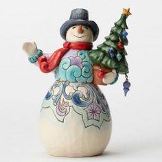 Season To Smile-Snowman Holding Tree Figurine - Snowmen