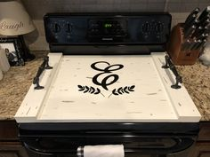 Monogrammed white stove top cover tray with handles Wooden Stove Top Covers, Stove Covers, Wooden Crafts, Wooden Diy, Diy Wood Stove, Stove Board, White Stove, Laundry Decor, Realtor Gifts