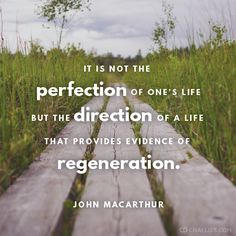 """It is not the perfection of one's life but the direction of a life that provides evidence of regeneration."" (John MacArthur)"