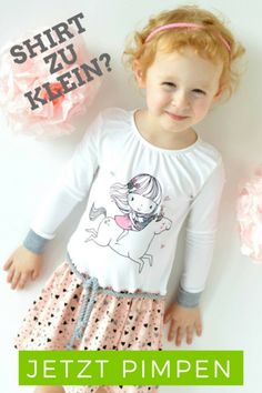 Tutorial - Schnell und einfach Kaufshirts aufwerten - zu klein, was nun? Pimp my shirt - Nähen - T-Shirt pimpen - Nähanleitung - Kinder - Mädchen - Kleid - Nähideen - Freebook - Amelie & Luise - Glückpunkt.