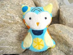Plush Stuffed Owl  Blue by ByNanasHands on Etsy, $12.00