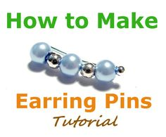 awesome DIY Bijoux - How to Make Ear Pins, Jewelry Tutorial, Earring Pins, Bobby Pin Earrings, Ear…. Ear Jewelry, Jewelry Crafts, Beaded Jewelry, Handmade Jewelry, Jewelry Ideas, Jewelery, How To Make Earrings, Diy Earrings, Or Violet