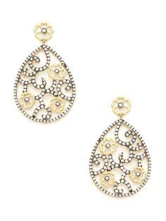 Gold & CZ Floral Teardrop Earrings by Rivka Friedman on Gilt.com $128.00