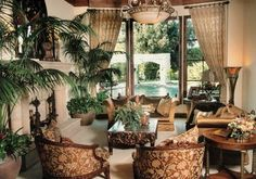 LIVING ROOM DESIGNED BY SUSAN SPATH - traditional - Living Room - San Diego - Kern & Co. - Susan Spath Interior Design (warm brownish floral pattern on chairs and of course the wood)