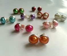 Wire-wrapped Bead Stud Earrings