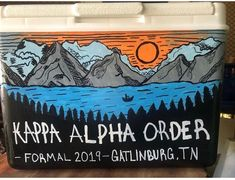 COOLERSbyU Painted Cooler Examples | Kappa Alpha Mountain Weekend 2019 | Tags: kappa alpha, the order. mountain weekend, painted coolersbyu cooler Painted Coolers, Fraternity Coolers, Cooler Painting, Kappa, Painting Inspiration, Mountain, Tags, Formal, Ideas