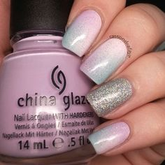 #chinaglaze Fairy Dust, Glistening Snow, Sweet Hook, Kinetic Candy and #essi Fiji | #ombre #nailsdid - @cassondrafaye-