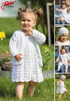 Lovely summer set in our soft cotton blend Elise. Baby Knitting Patterns, Diy Crochet And Knitting, Knitting For Kids, Crochet For Kids, Crochet Pattern, Garnstudio Drops, Pioneer Gifts, Baby Sweaters, Flower Girl Dresses