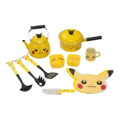 Pikachu Kitchen Set Offical Pokemon Center Japan Ltd,tea pot,Mug,Pan,knife
