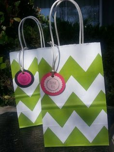Apple Green Chevron Party Favor Bags by JennexPartySupply on Etsy