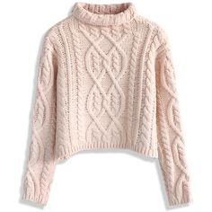 Chicwish Rolling Chunky Cable Sweater in Pink ($40) ❤ liked on Polyvore featuring tops, sweaters, shirts, jumper, pink, roll neck sweater, flat top, cable knit jumper, roll top y pink shirt
