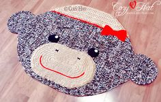 Sock Monkey Rug. Hand Crocheted. by CozyHat on Etsy, $119.00