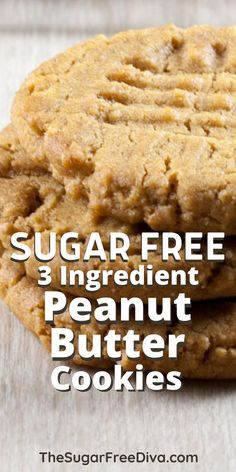 Easy Recipe for three ingredient peanut butter cookies. Sugar Free Cookies-What could get easier or yummier than 3 Ingredient Sugar Free Peanut Butter Cookies? Paleo Dessert, Vegan Desserts, Delicious Desserts, Dessert Recipes, Vegan Recipes, Sugar Free Peanut Butter Cookies, Peanut Butter Cookie Recipe, Whole Food Desserts, Whole Food Recipes