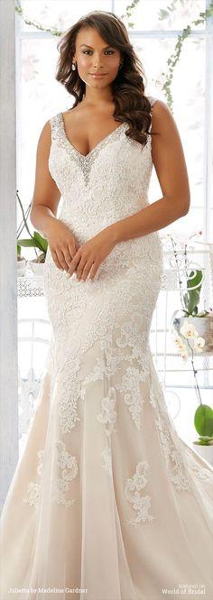 Diamanté and Pearl Beaded Edging Trims the Net Gown with Alençon Lace Appliqués Over Soft Satin