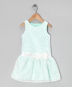 Green Bow Drop-Waist Dress - Toddler