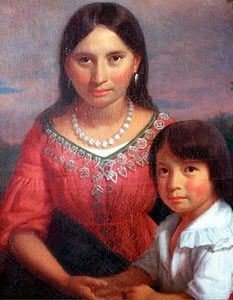 Thomas Rolfe with mother Pocahontas
