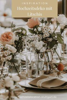 Hochzeitsdeko mit Litschis Table Decorations, Furniture, Home Decor, Registry Office Wedding, Decoration Home, Room Decor, Home Furnishings, Home Interior Design, Dinner Table Decorations