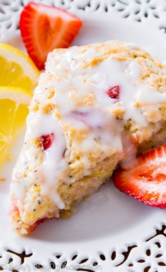 "Strawberry Lemon Poppy Seed Scones. - Sallys Baking Addiction..""looking for that perfect moist, fruity scone recipe? This is it! Soft, tender interior and a slightly crisp top. You'll love them!"""