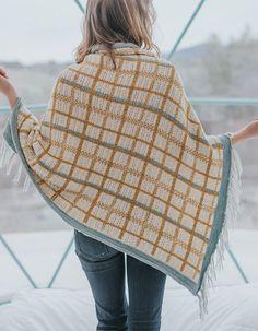 Knitting Pattern for Allegany Plaid Shawl - Shawl or throw knit with stranded colorwork plaid design. DK yarn. Designed byChristina Danaee