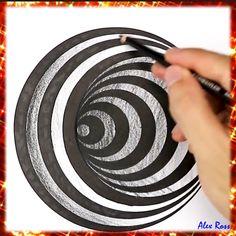 3d Pencil Drawings, Doodle Art Drawing, Art Drawings Sketches Simple, Easy Drawings, Easy 3d Drawing, Spiral Drawing, Easy Mandala Drawing, Illusion Drawings, Illusion Art