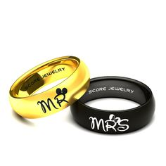 2 Piece Couple Set 14K Yellow Gold & Black Tungsten Bands with Domed Edge Mr & Mrs Laser Engraved Rings - 8mm Rings