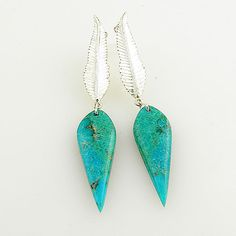 Blue Turquoise Sterling Silver Feather Earrings - keja jewelry